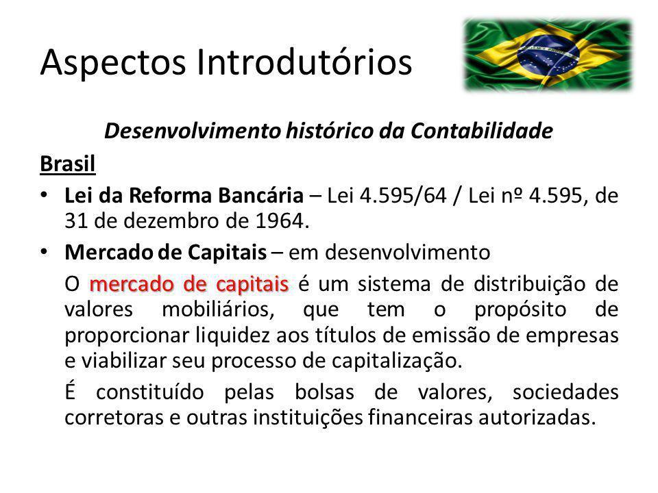 Aspectos Introdutórios Desenvolvimento histórico da Contabilidade Brasil Lei da Reforma Bancária – Lei 4.595/64 / Lei nº 4.595, de 31 de dezembro de 1