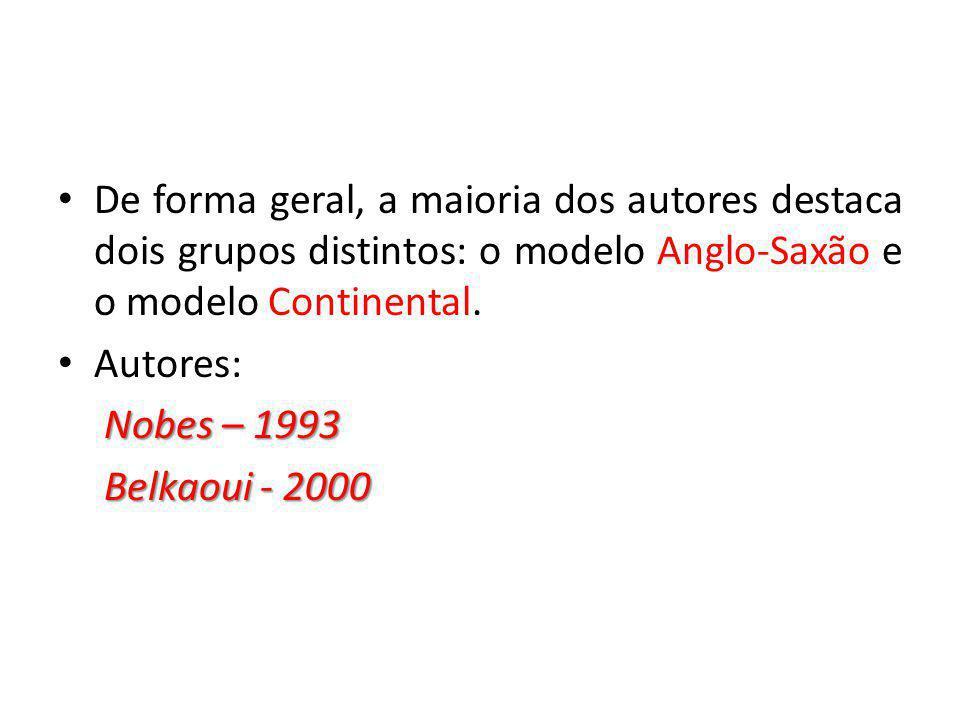 De forma geral, a maioria dos autores destaca dois grupos distintos: o modelo Anglo-Saxão e o modelo Continental. Autores: Nobes – 1993 Nobes – 1993 B