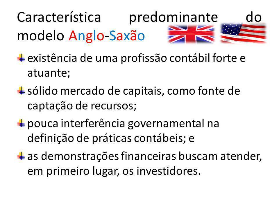 Característica predominante do modelo Anglo-Saxão existência de uma profissão contábil forte e atuante; sólido mercado de capitais, como fonte de capt