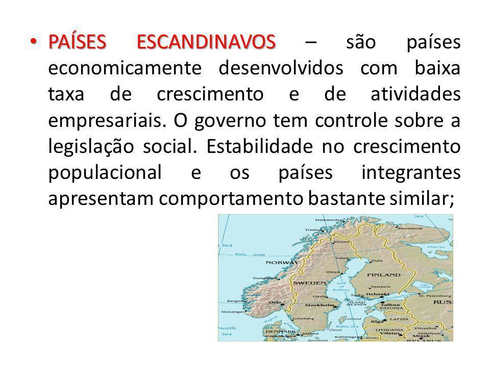 PAÍSES ESCANDINAVOS PAÍSES ESCANDINAVOS – são países economicamente desenvolvidos com baixa taxa de crescimento e de atividades empresariais. O govern