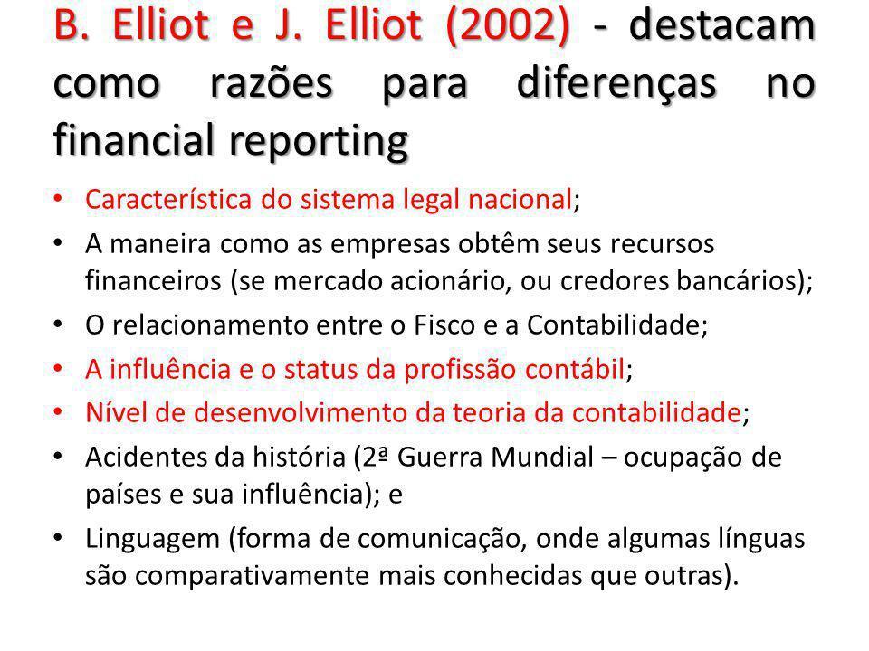 B. Elliot e J. Elliot (2002) - destacam como razões para diferenças no financial reporting Característica do sistema legal nacional; A maneira como as