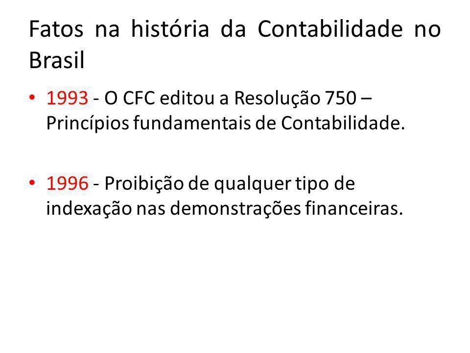 Fatos na história da Contabilidade no Brasil 1993 - O CFC editou a Resolução 750 – Princípios fundamentais de Contabilidade. 1996 - Proibição de qualq