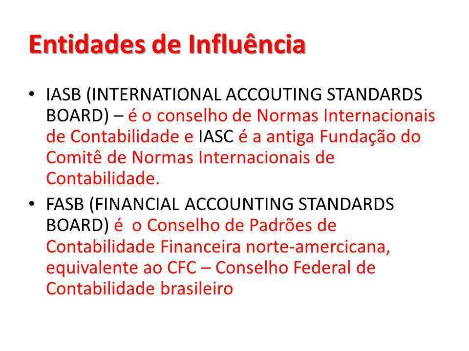Entidades de Influência IASB (INTERNATIONAL ACCOUTING STANDARDS BOARD) – é o conselho de Normas Internacionais de Contabilidade e IASC é a antiga Fund