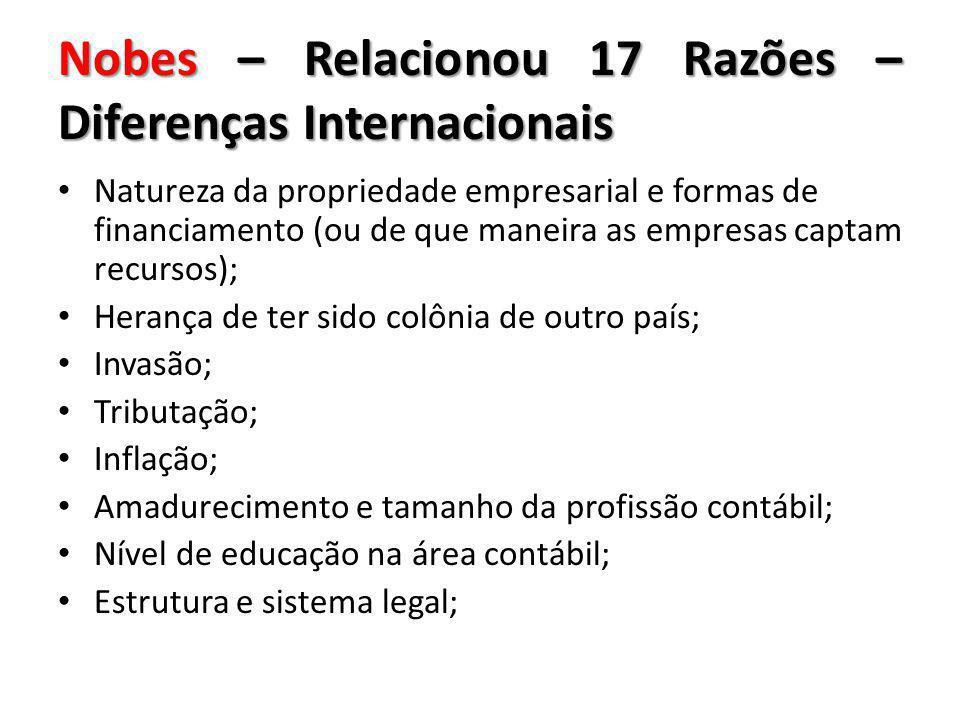 Nobes – Relacionou 17 Razões – Diferenças Internacionais Natureza da propriedade empresarial e formas de financiamento (ou de que maneira as empresas