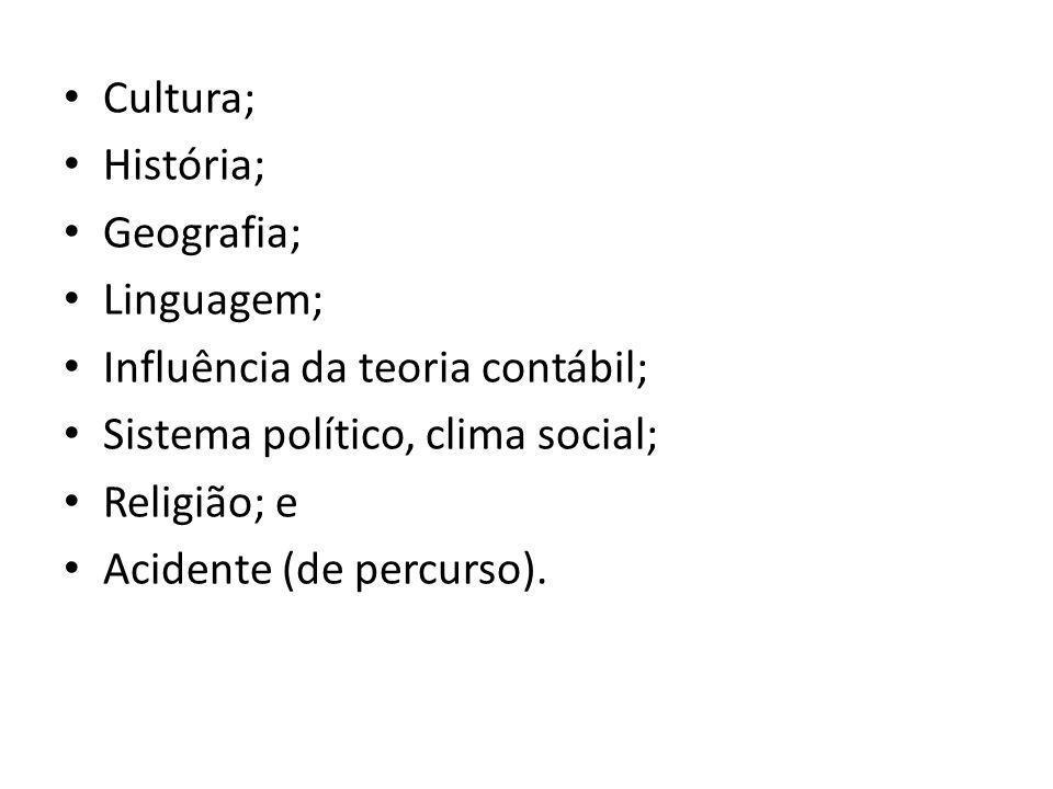 Cultura; História; Geografia; Linguagem; Influência da teoria contábil; Sistema político, clima social; Religião; e Acidente (de percurso).
