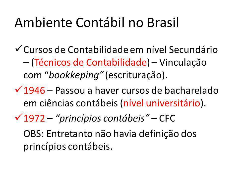"""Ambiente Contábil no Brasil Cursos de Contabilidade em nível Secundário – (Técnicos de Contabilidade) – Vinculação com """"bookkeping"""" (escrituração). 19"""