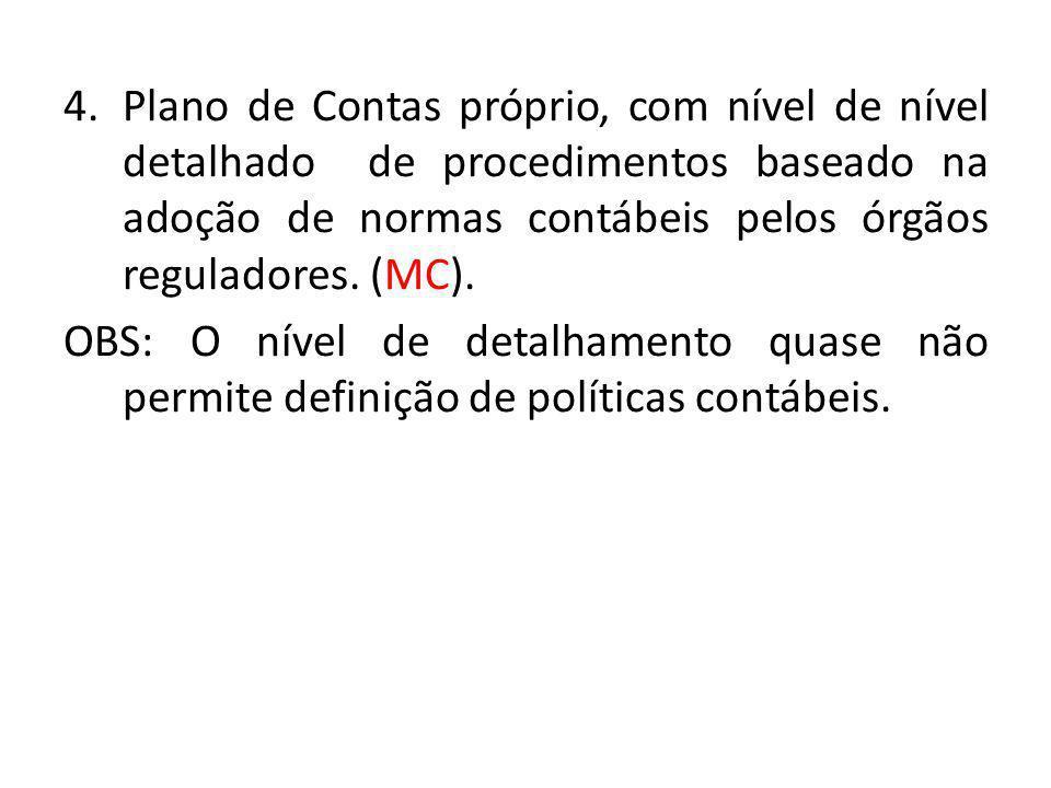 4.Plano de Contas próprio, com nível de nível detalhado de procedimentos baseado na adoção de normas contábeis pelos órgãos reguladores. (MC). OBS: O