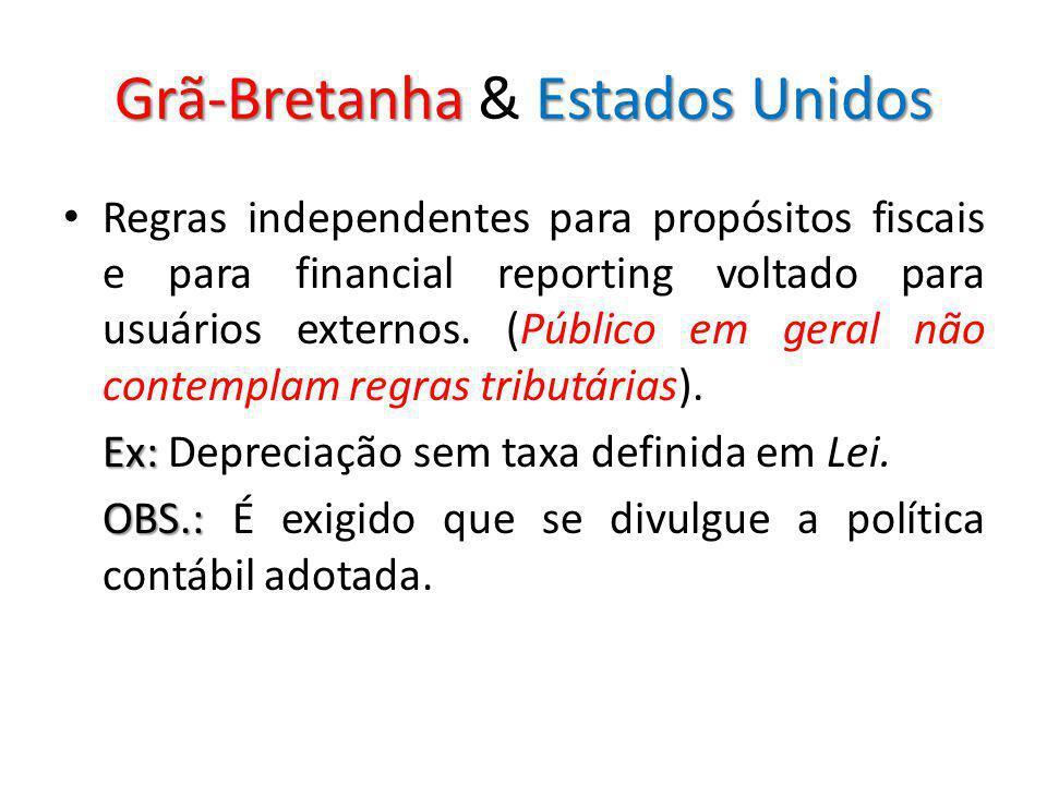 Grã-BretanhaEstados Unidos Grã-Bretanha & Estados Unidos Regras independentes para propósitos fiscais e para financial reporting voltado para usuários