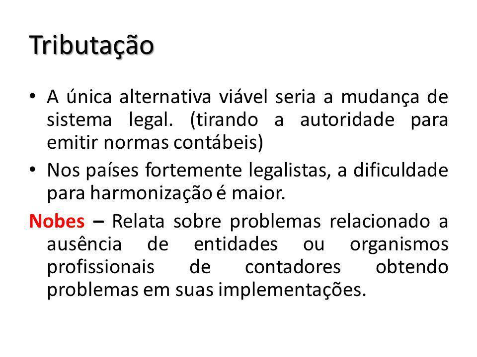 Tributação A única alternativa viável seria a mudança de sistema legal. (tirando a autoridade para emitir normas contábeis) Nos países fortemente lega