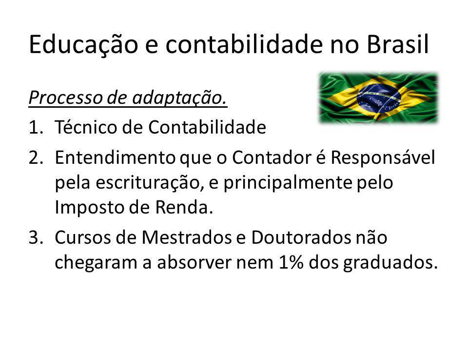 Educação e contabilidade no Brasil Processo de adaptação. 1.Técnico de Contabilidade 2.Entendimento que o Contador é Responsável pela escrituração, e