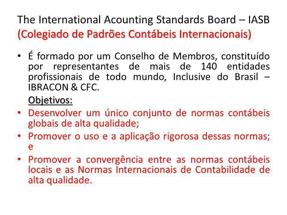 (Colegiado de Padrões Contábeis Internacionais) The International Acounting Standards Board – IASB (Colegiado de Padrões Contábeis Internacionais) É f