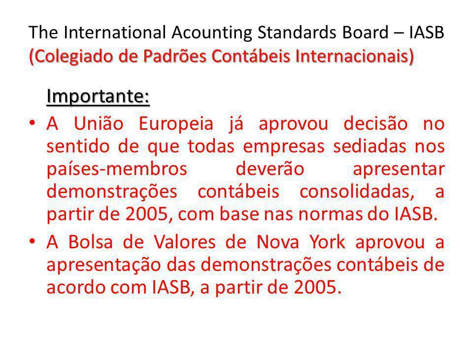 (Colegiado de Padrões Contábeis Internacionais) The International Acounting Standards Board – IASB (Colegiado de Padrões Contábeis Internacionais) Imp
