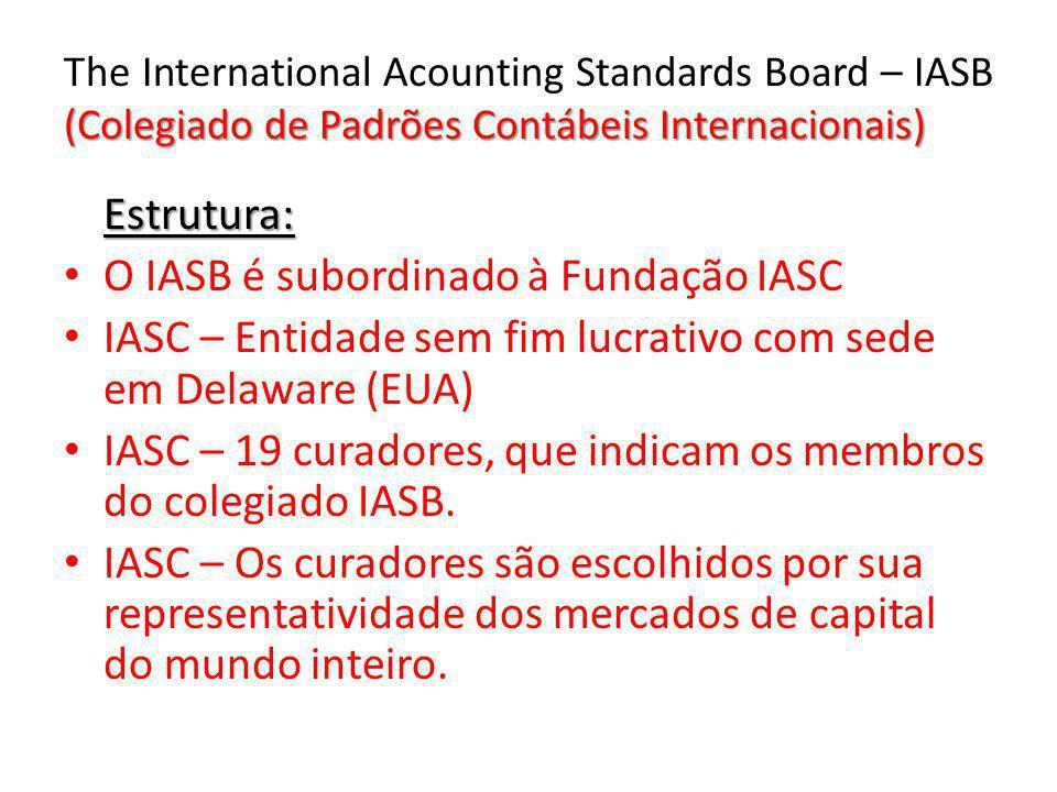 (Colegiado de Padrões Contábeis Internacionais) The International Acounting Standards Board – IASB (Colegiado de Padrões Contábeis Internacionais) Est