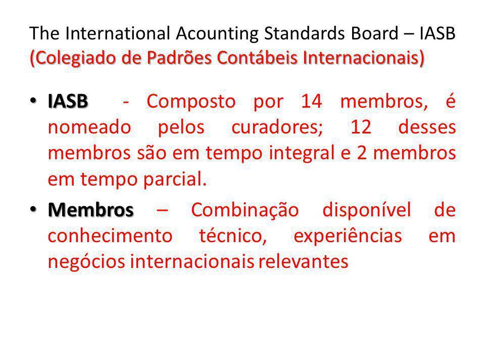 (Colegiado de Padrões Contábeis Internacionais) The International Acounting Standards Board – IASB (Colegiado de Padrões Contábeis Internacionais) IAS