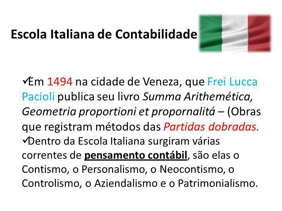 Escola Italiana de Contabilidade Em 1494 na cidade de Veneza, que Frei Lucca Pacioli publica seu livro Summa Arithemética, Geometria proportioni et pr