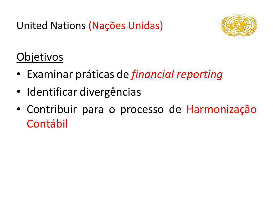 Objetivos Examinar práticas de financial reporting Identificar divergências Contribuir para o processo de Harmonização Contábil United Nations (Nações