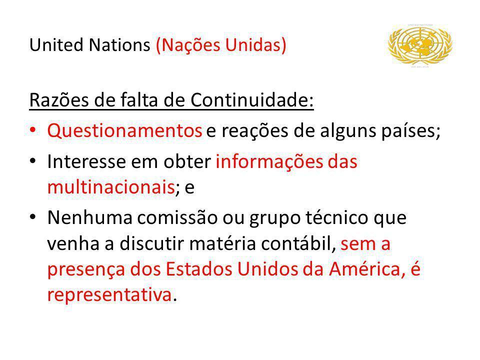 Razões de falta de Continuidade: Questionamentos e reações de alguns países; Interesse em obter informações das multinacionais; e Nenhuma comissão ou