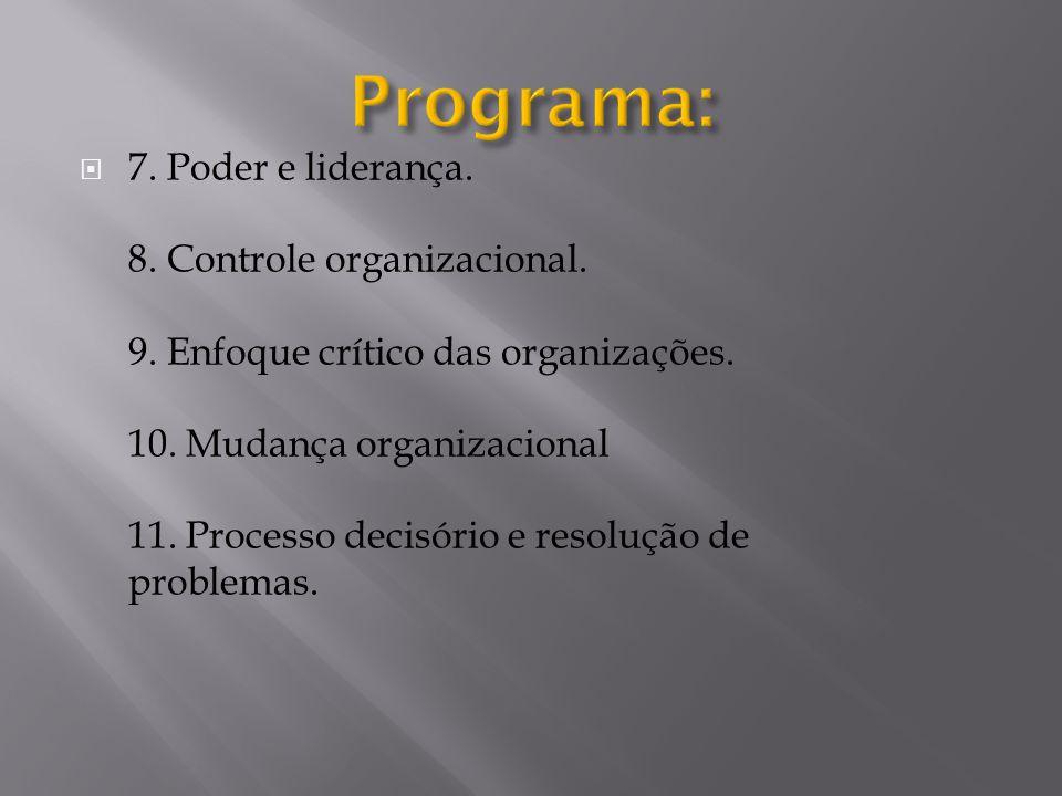  7. Poder e liderança. 8. Controle organizacional. 9. Enfoque crítico das organizações. 10. Mudança organizacional 11. Processo decisório e resolução