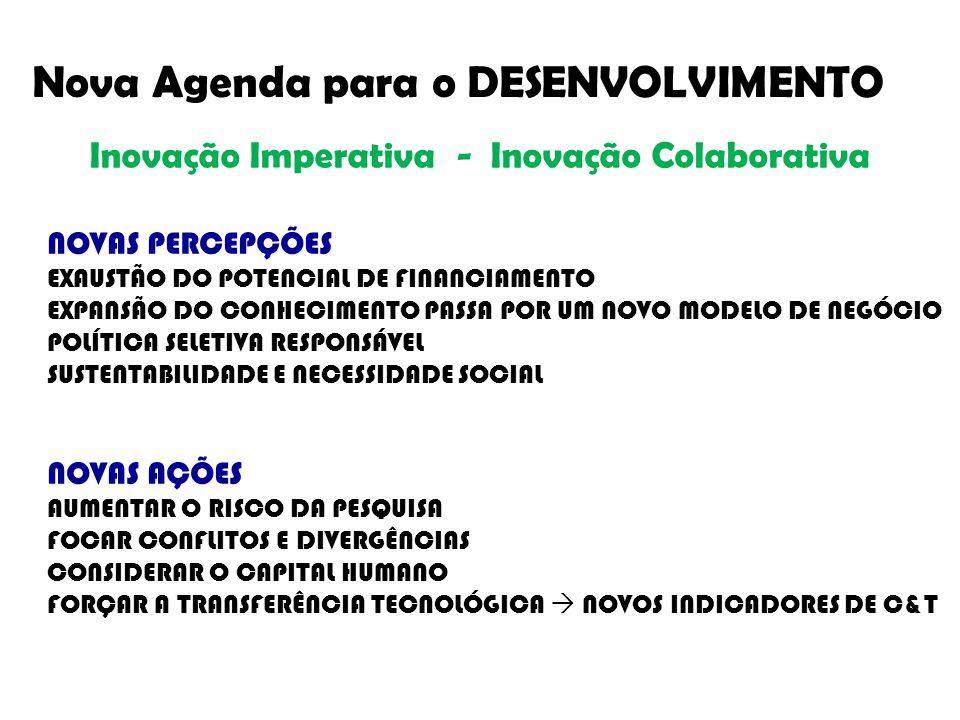 Nova Agenda para o DESENVOLVIMENTO NOVAS PERCEPÇÕES EXAUSTÃO DO POTENCIAL DE FINANCIAMENTO EXPANSÃO DO CONHECIMENTO PASSA POR UM NOVO MODELO DE NEGÓCIO POLÍTICA SELETIVA RESPONSÁVEL SUSTENTABILIDADE E NECESSIDADE SOCIAL NOVAS AÇÕES AUMENTAR O RISCO DA PESQUISA FOCAR CONFLITOS E DIVERGÊNCIAS CONSIDERAR O CAPITAL HUMANO FORÇAR A TRANSFERÊNCIA TECNOLÓGICA  NOVOS INDICADORES DE C&T Inovação Imperativa - Inovação Colaborativa