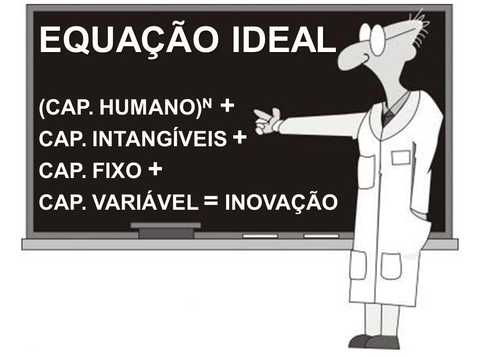 EQUAÇÃO IDEAL (CAP. HUMANO) N + CAP. INTANGÍVEIS + CAP. FIXO + CAP. VARIÁVEL = INOVAÇÃO