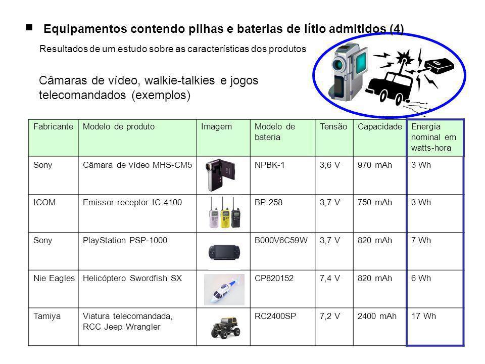 ■ Equipamentos contendo pilhas e baterias de lítio admitidos (4) Resultados de um estudo sobre as características dos produtos Câmaras de vídeo, walkie-talkies e jogos telecomandados (exemplos) FabricanteModelo de produtoImagemModelo de bateria TensãoCapacidadeEnergia nominal em watts-hora SonyCâmara de vídeo MHS-CM5NPBK-13,6 V970 mAh3 Wh ICOMEmissor-receptor IC-4100BP-2583,7 V750 mAh3 Wh SonyPlayStation PSP-1000B000V6C59W3,7 V820 mAh7 Wh Nie EaglesHelicóptero Swordfish SXCP8201527,4 V820 mAh6 Wh TamiyaViatura telecomandada, RCC Jeep Wrangler RC2400SP7,2 V2400 mAh17 Wh