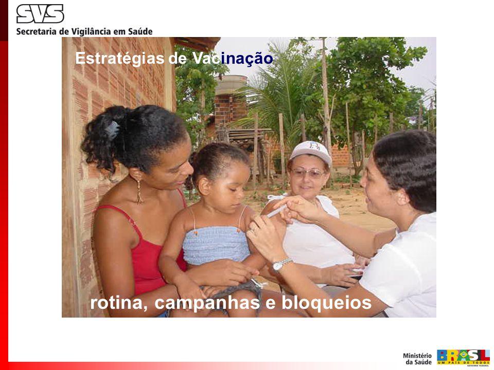 rotina, campanhas e bloqueios Estratégias de Vacinação