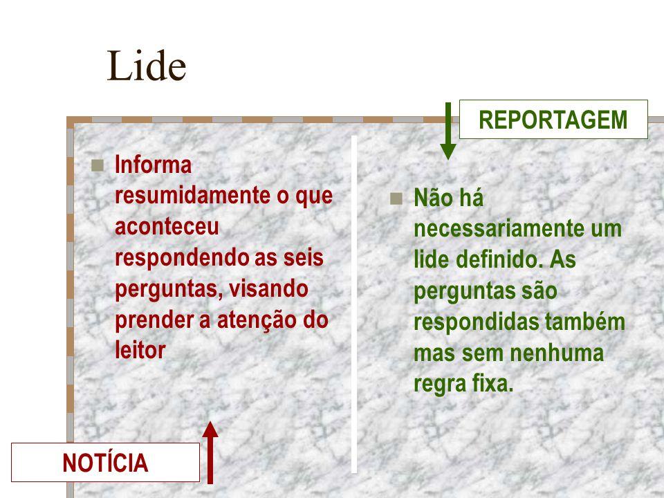 Lide Informa resumidamente o que aconteceu respondendo as seis perguntas, visando prender a atenção do leitor Não há necessariamente um lide definido.