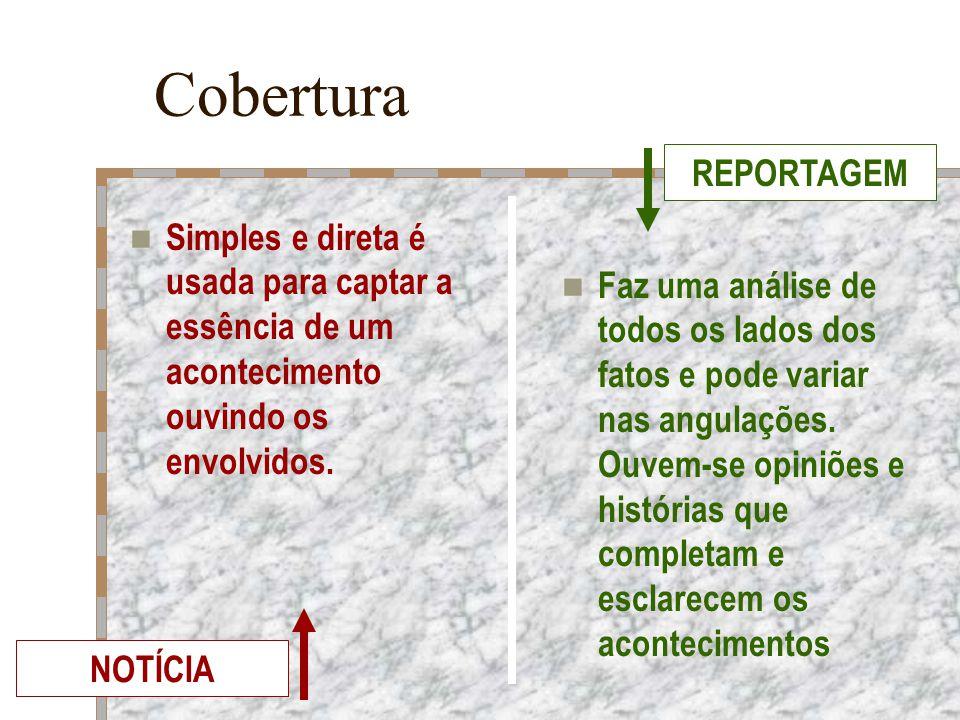 Cobertura Simples e direta é usada para captar a essência de um acontecimento ouvindo os envolvidos. Faz uma análise de todos os lados dos fatos e pod
