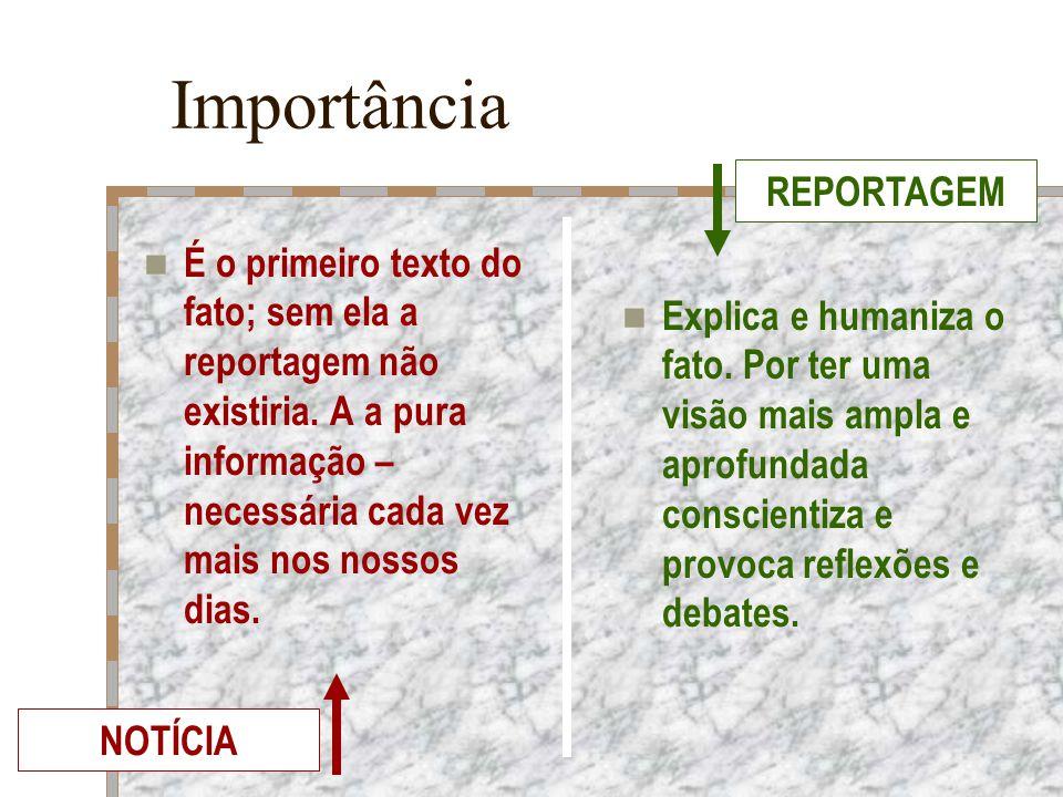 Importância É o primeiro texto do fato; sem ela a reportagem não existiria. A a pura informação – necessária cada vez mais nos nossos dias. Explica e