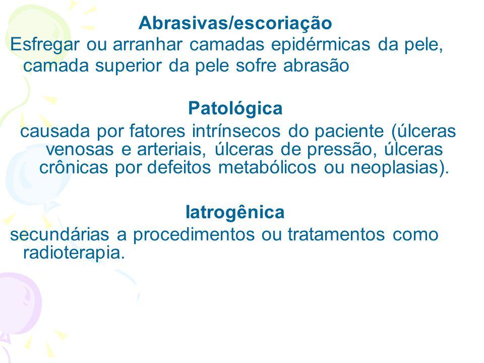 Abrasivas/escoriação Esfregar ou arranhar camadas epidérmicas da pele, camada superior da pele sofre abrasão Patológica causada por fatores intrínseco