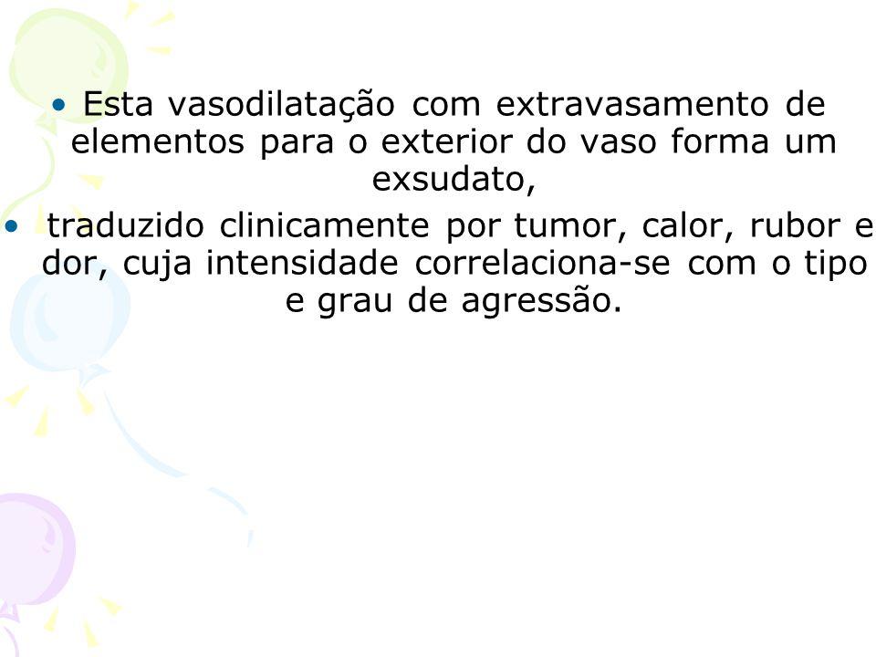 Esta vasodilatação com extravasamento de elementos para o exterior do vaso forma um exsudato, traduzido clinicamente por tumor, calor, rubor e dor, cu