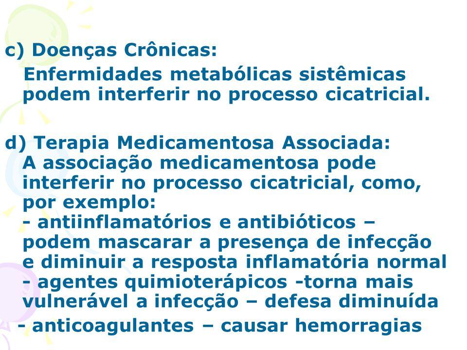 c) Doenças Crônicas: Enfermidades metabólicas sistêmicas podem interferir no processo cicatricial. d) Terapia Medicamentosa Associada: A associação me