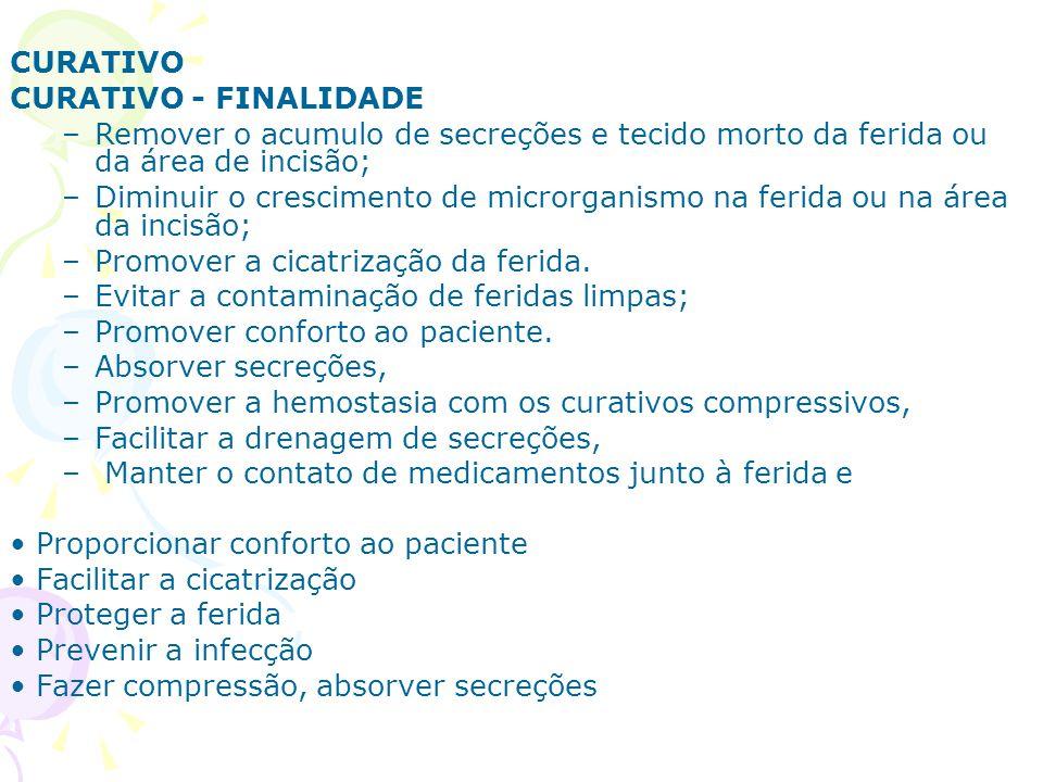 CURATIVO CURATIVO - FINALIDADE –Remover o acumulo de secreções e tecido morto da ferida ou da área de incisão; –Diminuir o crescimento de microrganism