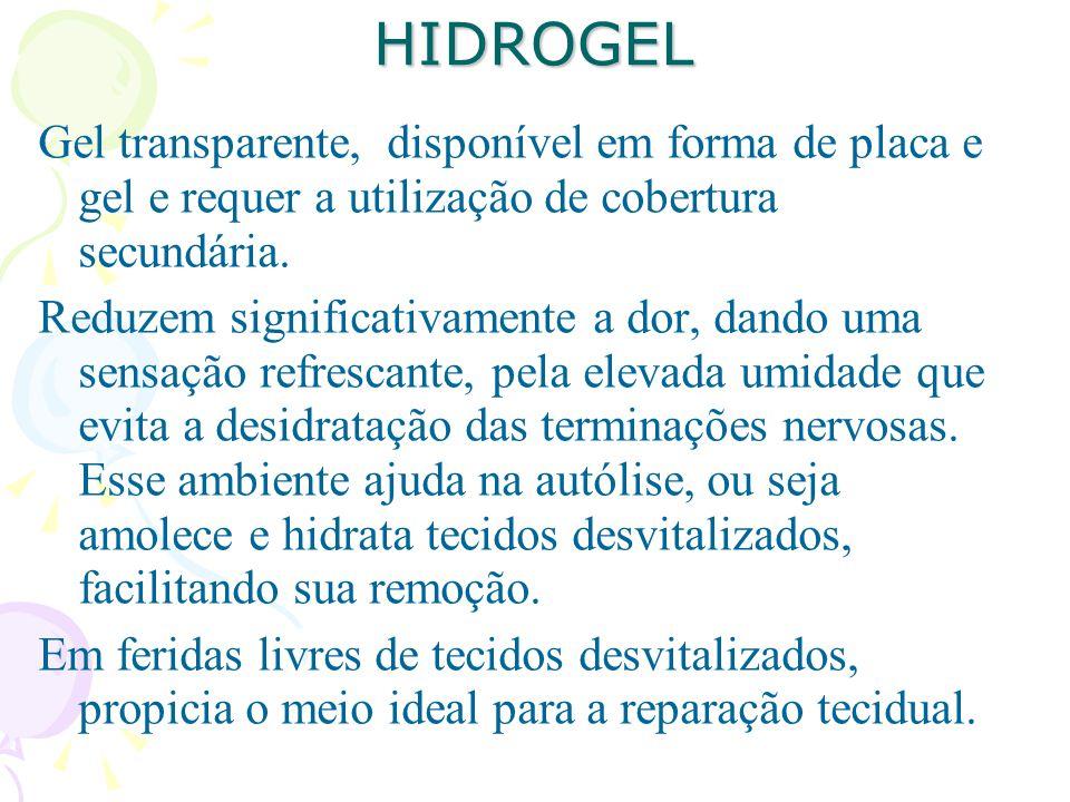 HIDROGEL Gel transparente, disponível em forma de placa e gel e requer a utilização de cobertura secundária. Reduzem significativamente a dor, dando u