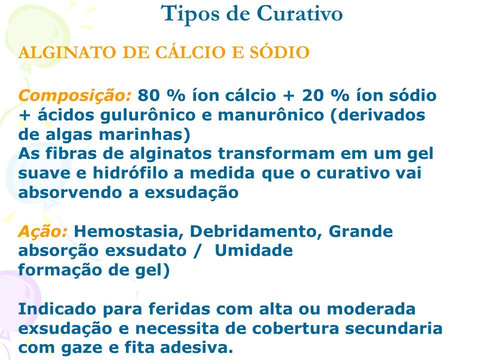 ALGINATO DE CÁLCIO E SÓDIO Tipos de Curativo Composição: 80 % íon cálcio + 20 % íon sódio + ácidos gulurônico e manurônico (derivados de algas marinha