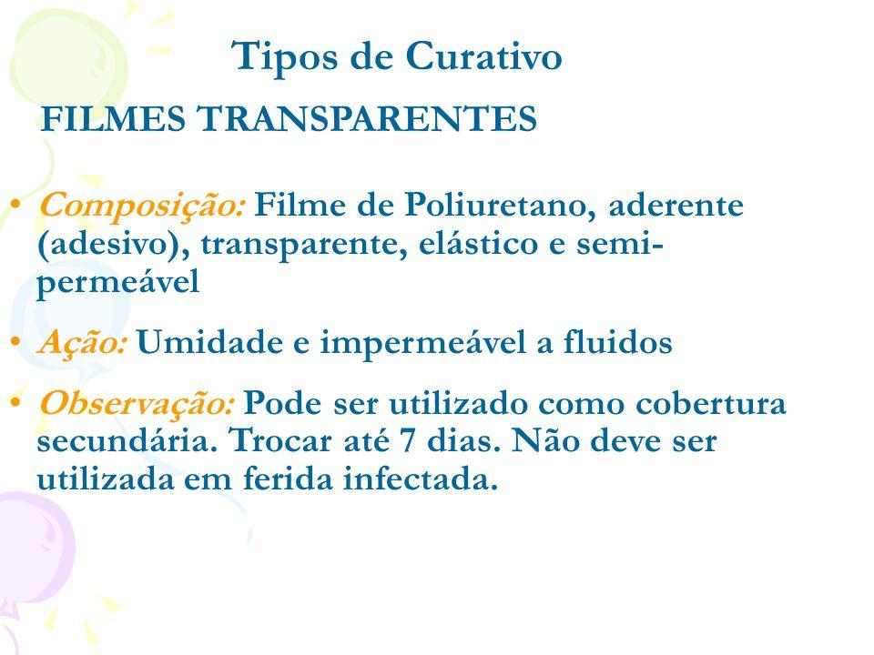 FILMES TRANSPARENTES Composição: Filme de Poliuretano, aderente (adesivo), transparente, elástico e semi- permeável Ação: Umidade e impermeável a flui