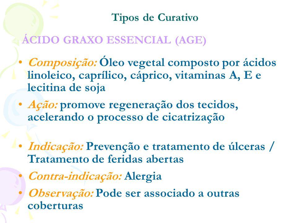ÁCIDO GRAXO ESSENCIAL (AGE)  Composição: Óleo vegetal composto por ácidos linoleico, caprílico, cáprico, vitaminas A, E e lecitina de soja Ação: prom