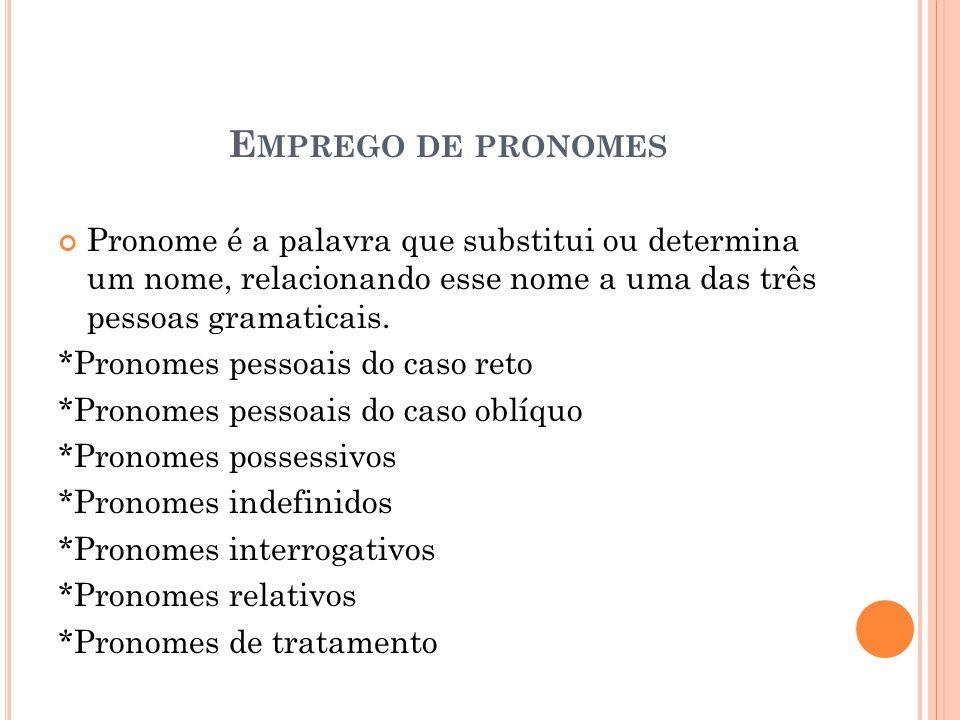 E MPREGO DE PRONOMES Pronome é a palavra que substitui ou determina um nome, relacionando esse nome a uma das três pessoas gramaticais.