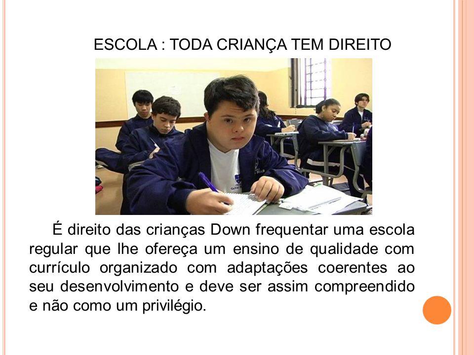 É direito das crianças Down frequentar uma escola regular que lhe ofereça um ensino de qualidade com currículo organizado com adaptações coerentes ao
