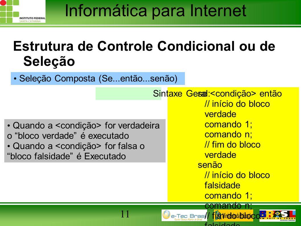 Informática para Internet 11 Estrutura de Controle Condicional ou de Seleção Seleção Composta (Se...então...senão) se então // início do bloco verdade