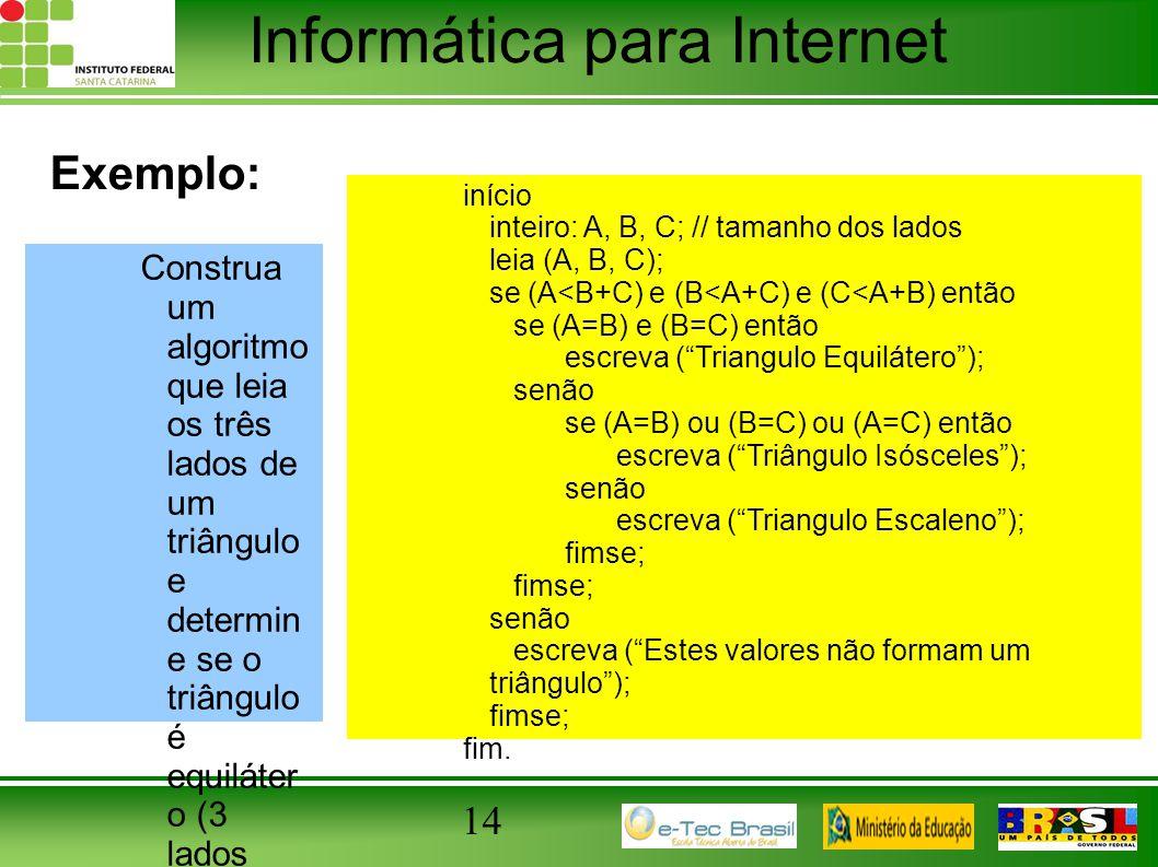 Informática para Internet 14 Exemplo: Construa um algoritmo que leia os três lados de um triângulo e determin e se o triângulo é equiláter o (3 lados