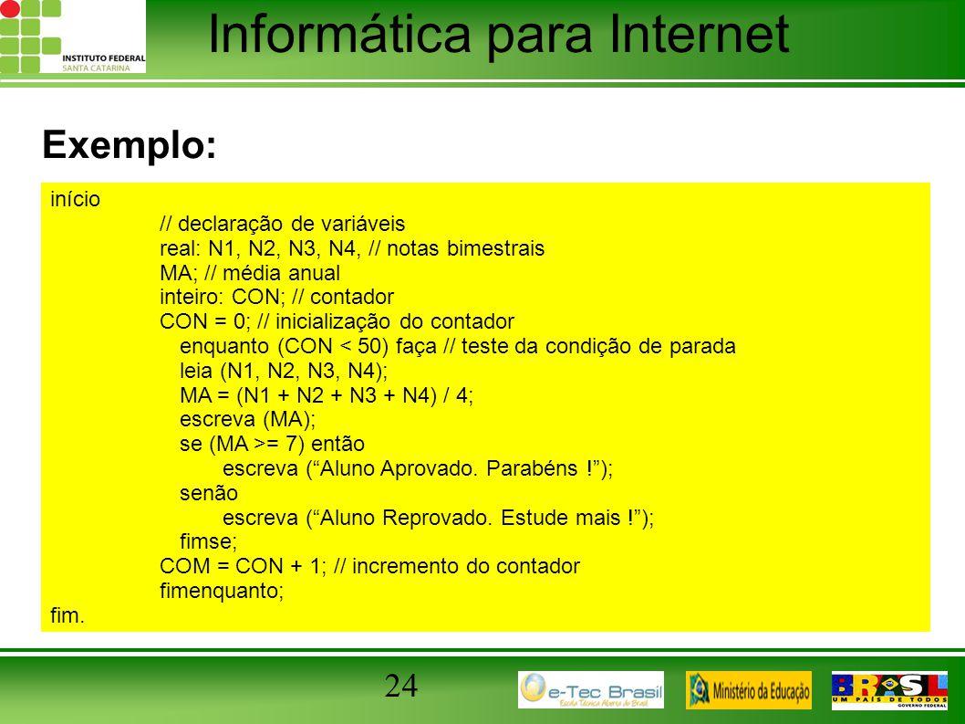 Informática para Internet 24 Exemplo: início // declaração de variáveis real: N1, N2, N3, N4, // notas bimestrais MA; // média anual inteiro: CON; //