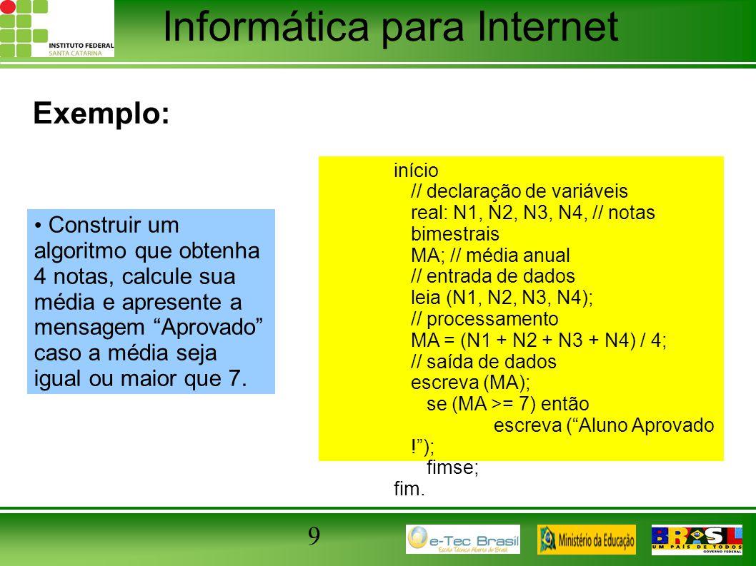 """Informática para Internet 9 Exemplo: Construir um algoritmo que obtenha 4 notas, calcule sua média e apresente a mensagem """"Aprovado"""" caso a média seja"""