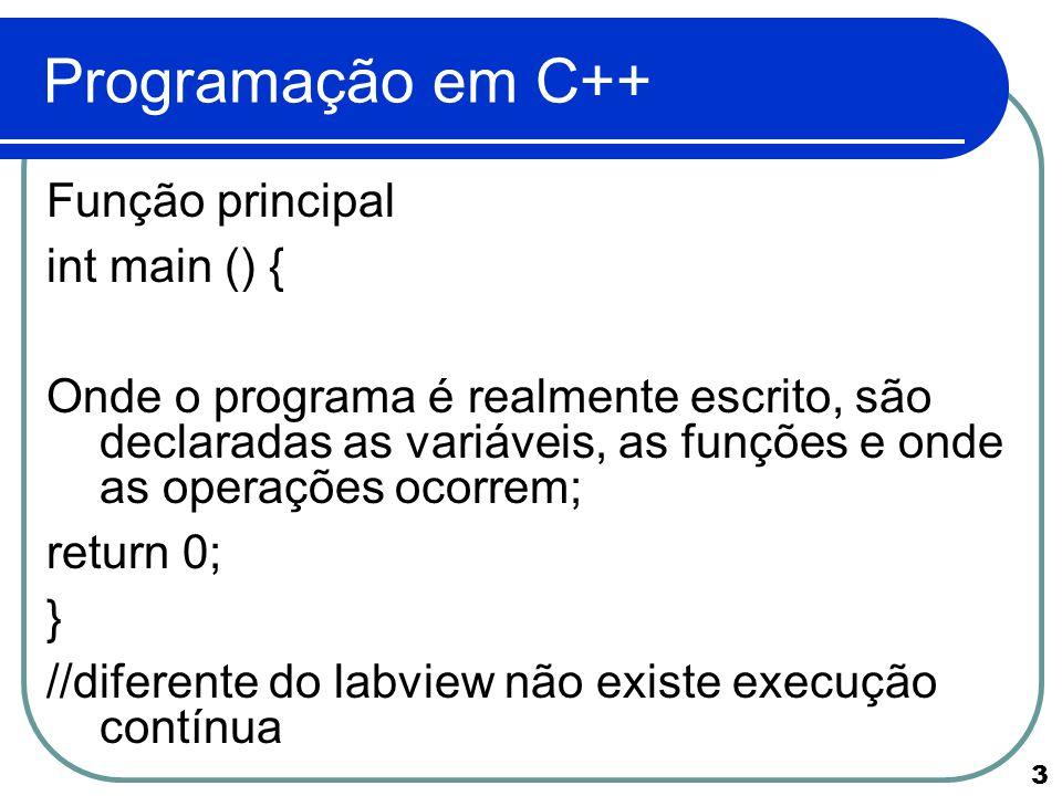 14 Programação em C++ Entradas/ saídas de terminal Entradas e saídas de terminal são feitas com objetos cin e cout (em C++), as quais são definidas na bibliotexa.