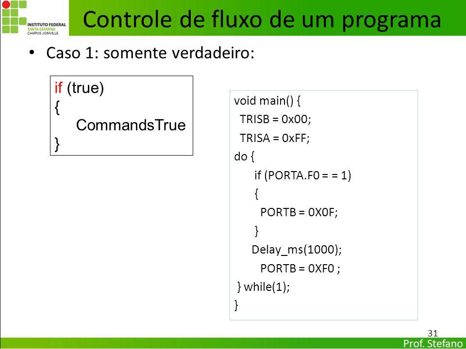 Caso 1: somente verdadeiro: 31 Controle de fluxo de um programa void main() { TRISB = 0x00; TRISA = 0xFF; do { if (PORTA.F0 = = 1) { PORTB = 0X0F; } D