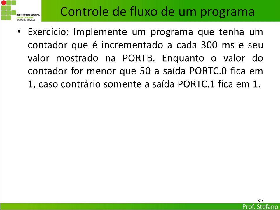Exercício: Implemente um programa que tenha um contador que é incrementado a cada 300 ms e seu valor mostrado na PORTB. Enquanto o valor do contador f