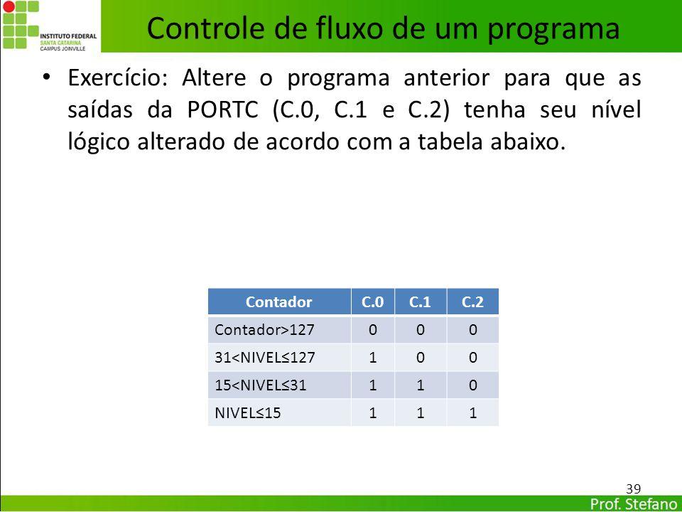 Exercício: Altere o programa anterior para que as saídas da PORTC (C.0, C.1 e C.2) tenha seu nível lógico alterado de acordo com a tabela abaixo. 39 C