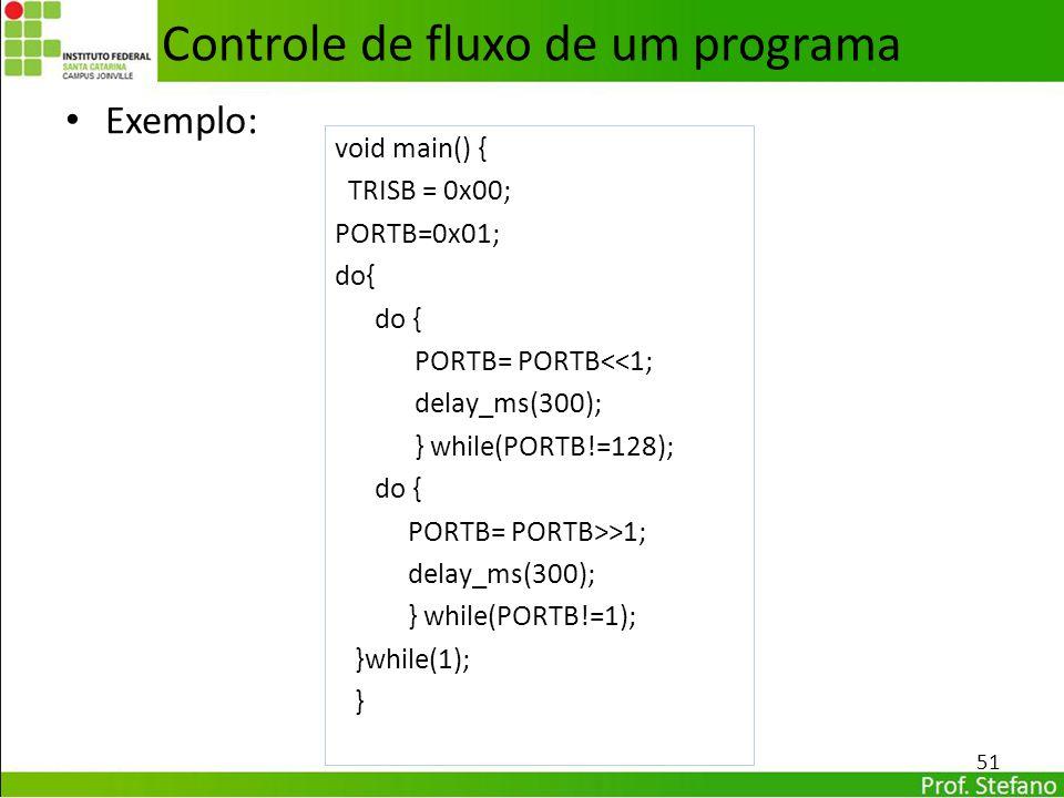 Exemplo: 51 Controle de fluxo de um programa void main() { TRISB = 0x00; PORTB=0x01; do{ PORTB= PORTB<<1; delay_ms(300); } while(PORTB!=128); do { POR
