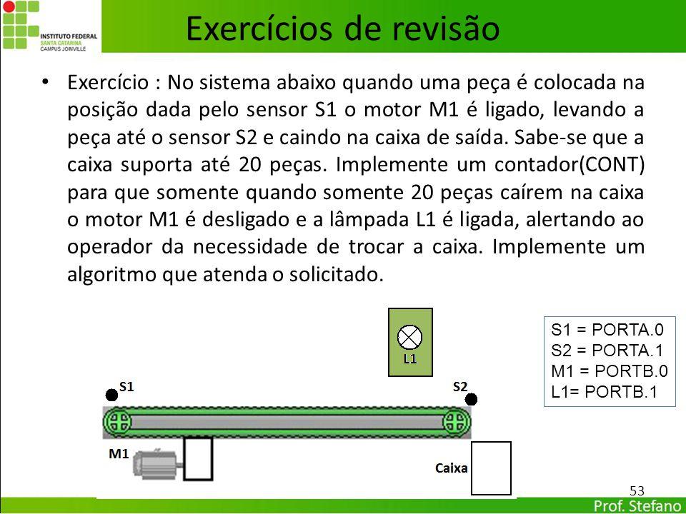 Exercício : No sistema abaixo quando uma peça é colocada na posição dada pelo sensor S1 o motor M1 é ligado, levando a peça até o sensor S2 e caindo n