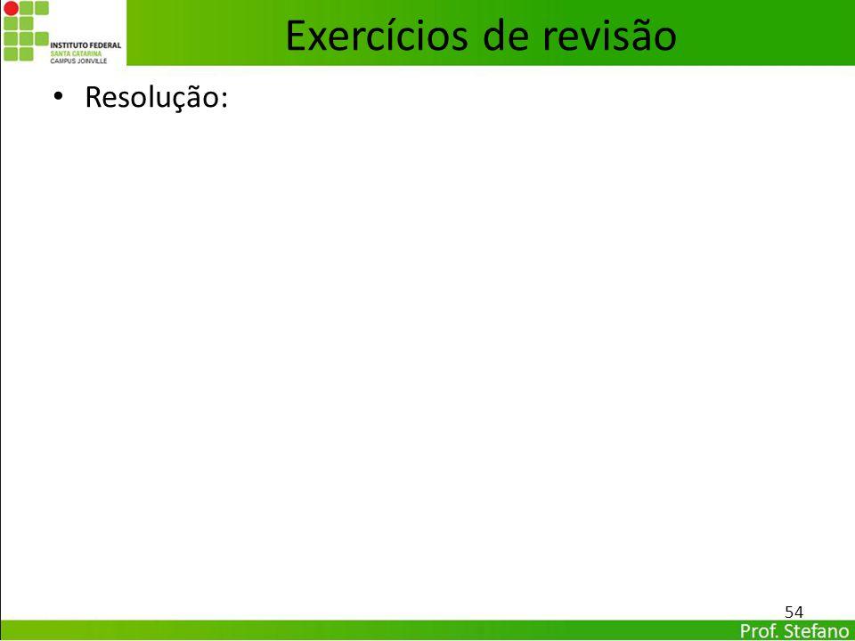 Resolução: 54 Exercícios de revisão